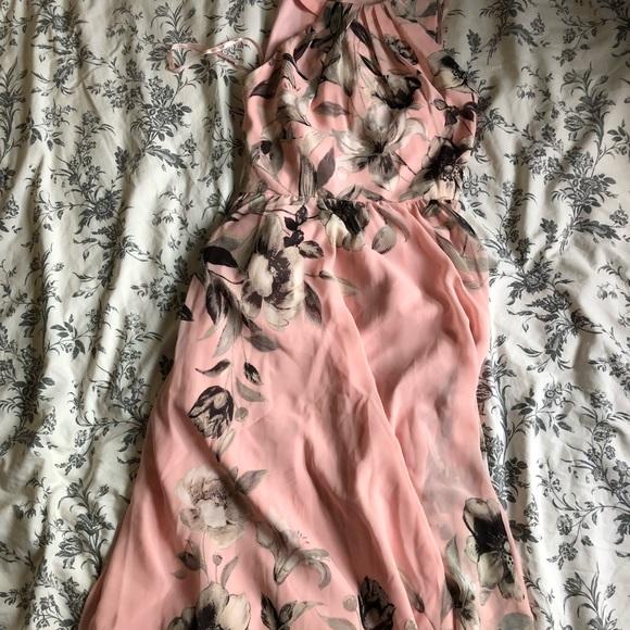 Pink Belted Chiffon Maxi Dress